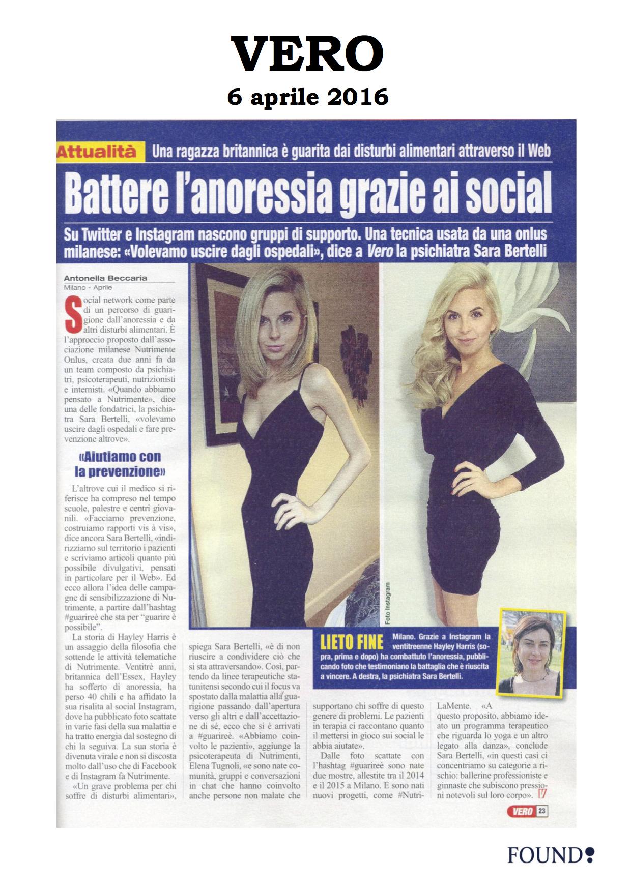 Vero 6 aprile 2016 (Social anoressia)