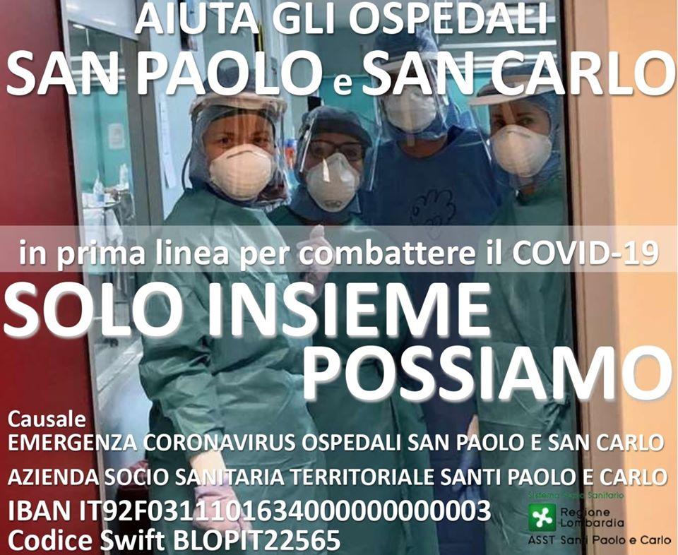 raccolta fondi asst santi paolo e carlo coronavirus